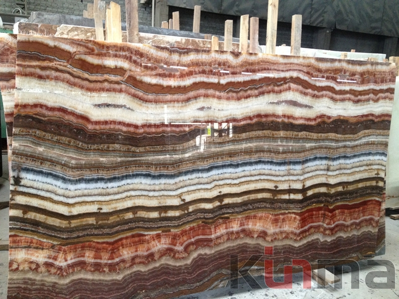 Seven color onyx slab