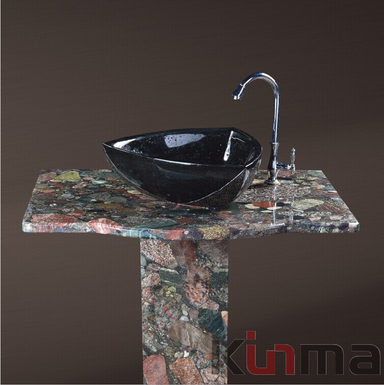 Multicolor green rectangular table and black onyx Bathro