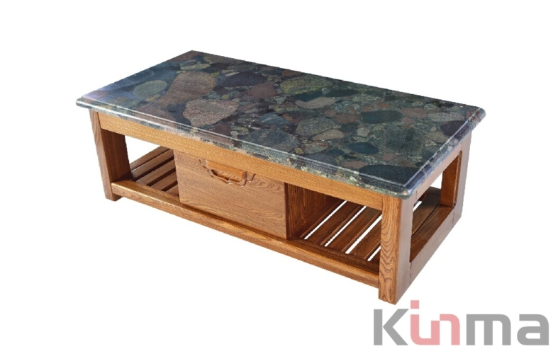 Multicolor Green rectangular table