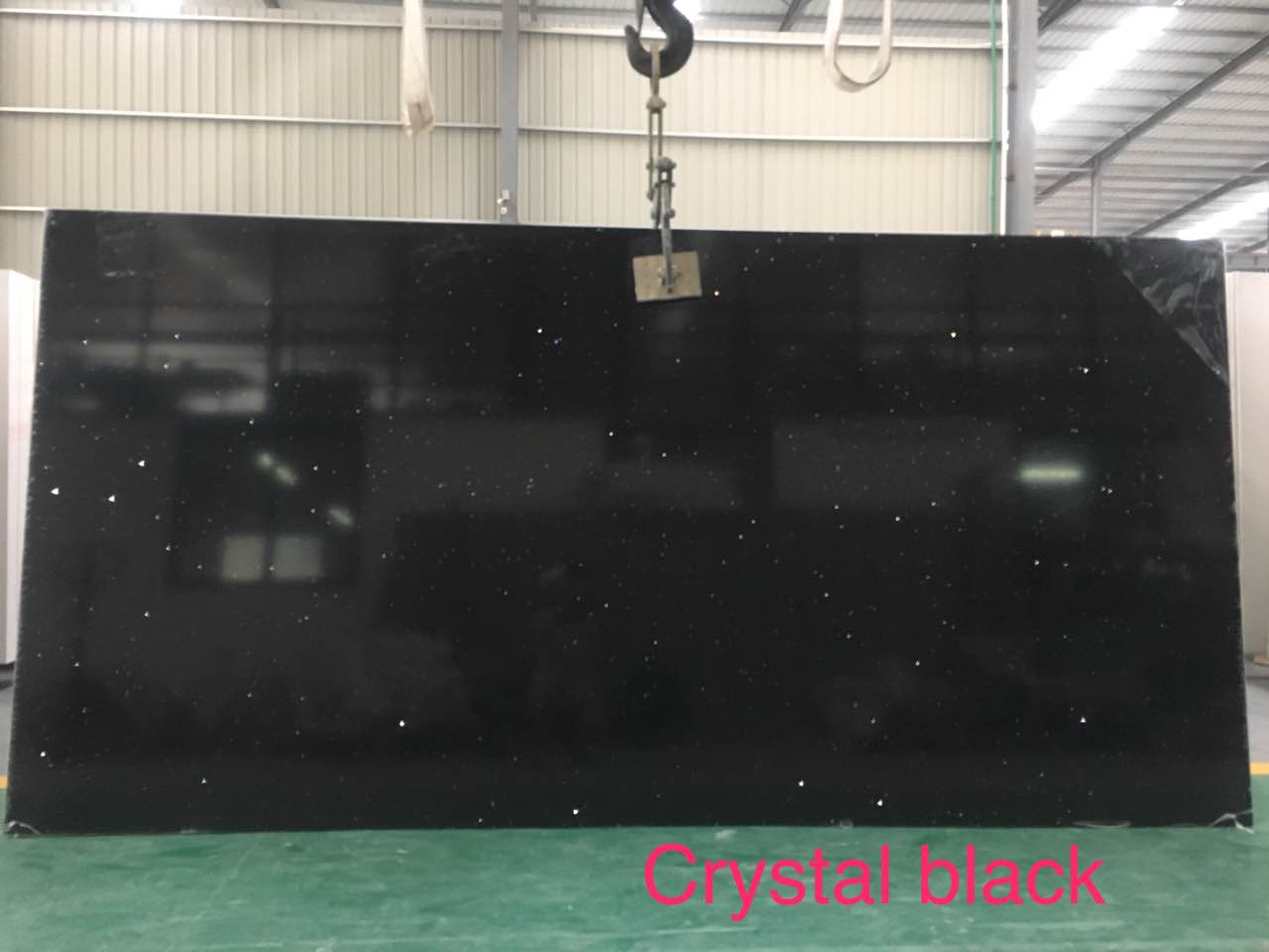 Crystal black quartz slab