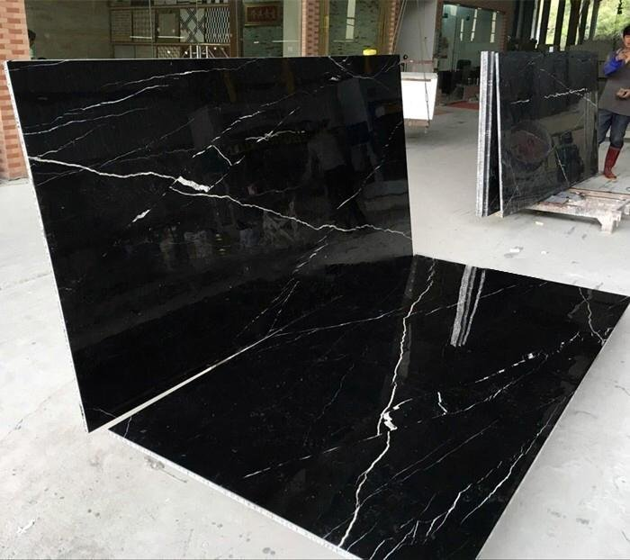 White and black marble tile
