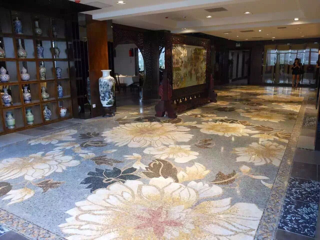 Interior glossy brown marble design mosaic