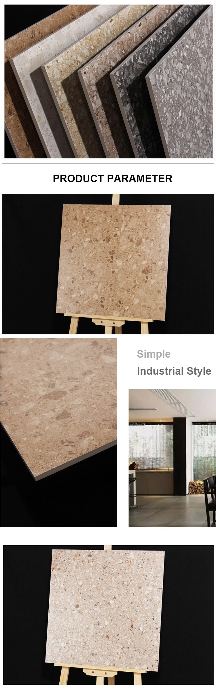 Natural cement stone terrazzo floor tiles