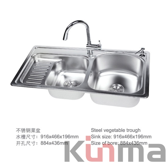 double drain board kitchen sinks