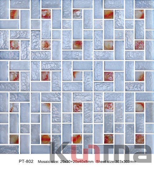 Ice crackle glass mosaic