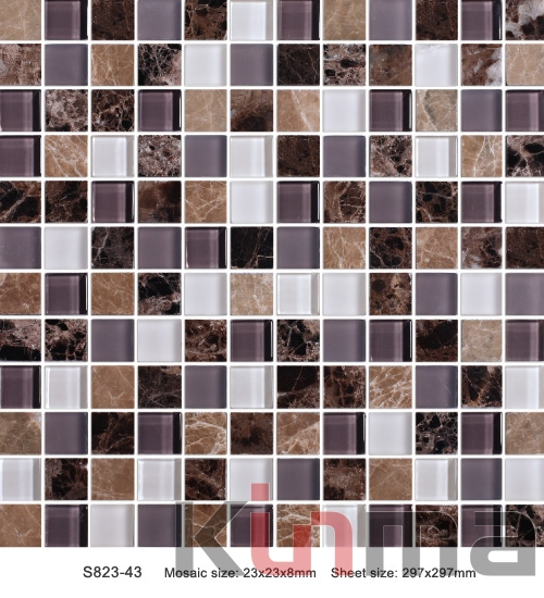 red black white glass mosaic for swimming pool tile