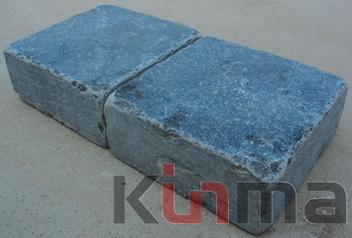 Dark blue limestone tumbled